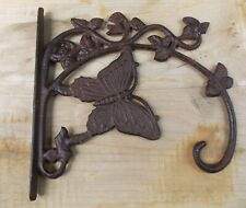 Rustic Style Cast Iron Butterfly Plant Hanger Hook Patio Fence Wall Mount