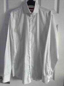 Hugo Boss Mens  White Slim Fit Smart Easy Iron Long Sleeved Shirt 15.5 Collar