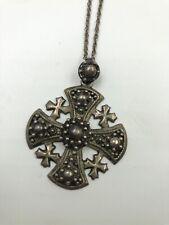 "Vintage Sterling Silver Jerusalem Crusaders Cross Pendant 17"" Chain Necklace"