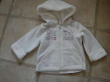 baby girls zip up fleece with hood-white with sequins - 6-9 months excellent con