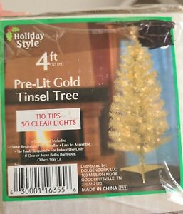 New Holiday Style 4 FT Pre-Lit GOLD TINSEL TREE 110 Tips & 50 Clear Lights