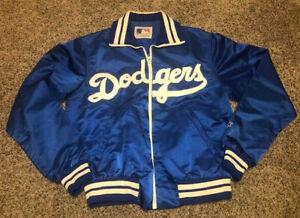 LOS ANGELES DODGERS Vtg 1980s 90s Script SEWN Full Zip STARTER Jacket jersey M