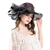 Womens Lady Church Wedding Kentucky Derby Floral Sun Hats Cap Organza Wide Brim