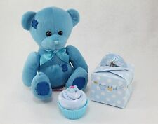 BABY BOY SOCK CUPCAKE WITH TEDDY NEW BORN BABY SHOWER GIFT MATERNITY PRESENT