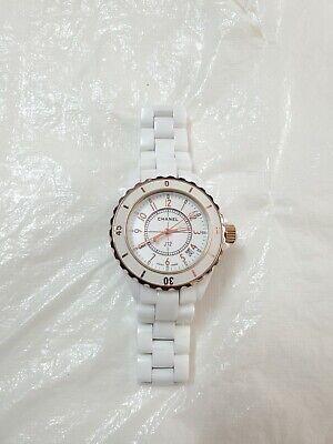 Chanel J12 White Ceramic Rose Gold Tone Women's Watch 42mm Swiss Made
