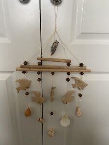 **NEW** Natural Wooden Mobile/Wall Hanging - Fish Shell Nautical Theme