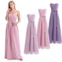 Women's Chiffon Long Maxi Bridesmaid Evening Formal Cocktail Gown Prom Dress AU