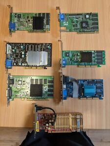 Bundle Of 7 Vintage AGP and PCI express GPU's