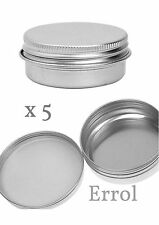 5 x 30ml Small Tin. Screw Lid. For Cream Make-Up, Nail Art, Small Item Storage