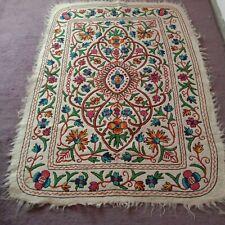 kashmir felt wool area rug namda namdha hand embriodered 4x6 white #2