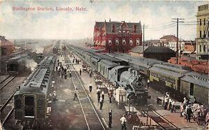 H60/ Lincoln Nebraska Postcard c1912 Burlington Railroad Depot Station 141