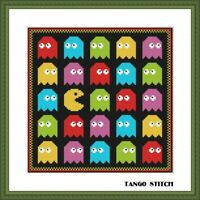 PacMan cross stitch pattern Funny nursery embroidery design Easy simple PDF file