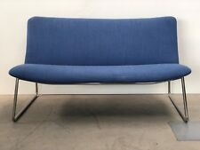 BRAND NEW DESIGNER FUNKY UPHOLSTERED BLUE TUBULAR CHROME FRAME TWO SEATER SOFA
