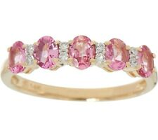 14K Yellow Gold 0.70Ct Oval Pink Spinel & Diamond Band Ring Size 9 Qvc $569