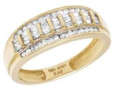 Men's 10K Yellow Gold Genuine Diamond Baguette Wedding Band Ring 1/2 CT 8MM