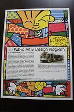"""ROMERO BRITTO """"THE HUG"""" PUBLIC ART & DESIGN PROGRAM POSTER  * RARE *"""