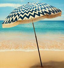 "Classic Royal Blue Chevron Beach Umbrella by beachBRELLA®  60""round 100% UV"