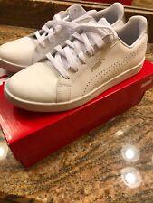 PUMA Women's Smash WNS Perf Metallic Sneakers - Size 7.5 - White/Silver