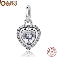 Bamoer Authentic S925 Sterling Silver Charm Love Heart Pendant With Clear Zircon