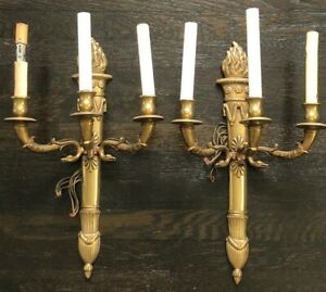 Antique Bronze Wall Sconces 3 Light Candelabra Empire Style Neo Classiical Flame