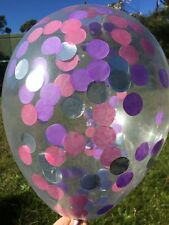 CONFETTI BALLOON CLEAR Metallic Silver, Pink and  Purple Birthday Engagement