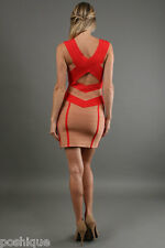 Stretta NWT XS Sofia Signature Bandage Dress Red Nude Tan Combo Red Carpet