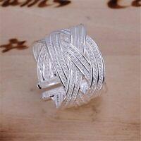 Silberring Schlicht Mehrreihig Vintage Breit Ring Versilbert Verstellbar Neu