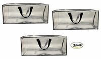 Earthwise Clear Storage Bags XL Heavy Duty Transparent Totes w/ Zipper (3 pack)