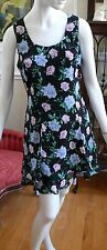 1990`s Black with Purple , blue Roses Tiered Floral Summer Evening Mini dress M