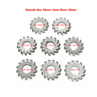 22mm Inner 14.5° Bore HSS 8H 8Pcs/Set Dp16 PA14-1/2 No1-8 Involute Gear Cutters