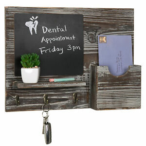 MyGift Wall Mounted Torched Wood Chalkboard Mail Organizer Rack with Key Hooks