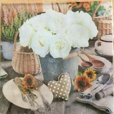 PAPER NAPKINS / SERVIETTES PACK OF 20 WHITE ROSE IN A BUCKET DESIGN 3PLY