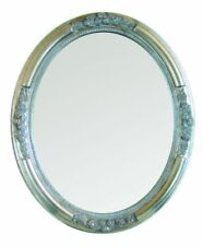 "Spiegel Wandspiegel Rundspiegel Barock ""Page"" Silber Oval, 57x47x5cm Vintage"
