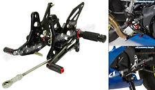 Noir commandes reculées repose-pieds rearsets kit pour 2016-2018 SUZUKI SV650 L7