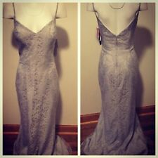 Bari Jay Silvercee Lace Spaghetti Strap Lined Gown Sz 12 Nwt