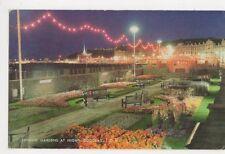 Sunken Gardens at Night, Douglas, Isle of Man Old Postcard, B107