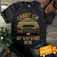 Supernatural Vintage Shirt Carry On My Wayward Son Dark Heather T-Shirt S-5XL...