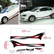 2x Car Sports Racing Both Side Body Vinyl Flame Wheel Stripe Decals Stickers