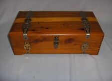Vintage Cedar Wood Mirror Jewelry Box Hinged Lid Finger Joint Corners NICE