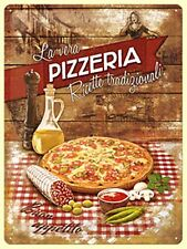 Pizzeria large embossed steel sign   400mm  300mm (na)