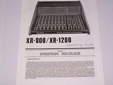 Peavey XR 800 / XR 1200 Mixing Console  PDF Manual