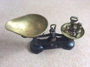 Antique Black / Brass Libra (Librasco) Kitchen Scales & Weights England