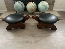 Turtle MCM  Ottoman Footstool Brass Rivets Set Of 2. Excellent Condition. Wood.
