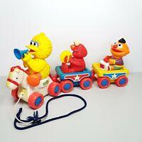 Vintage Sesame Street Illco Pull Along Toy Big Bird Elmo Ernie Moving Parts VTG