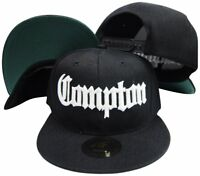 Compton Old English Black Adjustable Flatbill Snapback Hat w sunglass