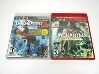 PS3 Uncharted Drakes Fortune & Uncharted 2 Among Thieves Lot of 2 Tested Clean