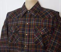 Mens Panhandle Slim Western Long Sleeve Shirt Pearl Snap Blue Plaid Size L 16/34