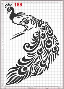 Beautiful Large Peacock Stencil MYLAR A4 sheet strong reusable Art Craft Deco