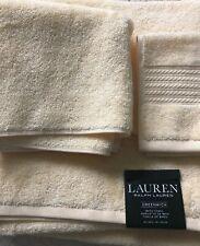 NWT Lauren Ralph Lauren Greenwich 3 Piece Bathroom Towel Set Solid Buttercup