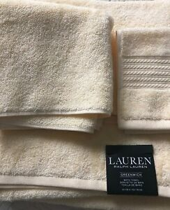 NWT Lauren Ralph Lauren Greenwich 3 Piece Bathroom Towel Set Solid Buttercup